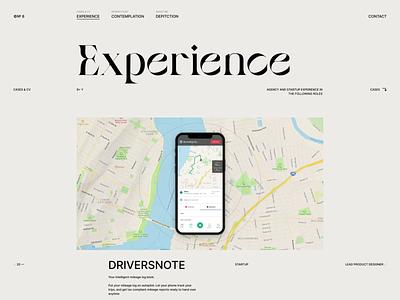 Portfolio - Experience / CV / Cases grid web design web curriculum vitae experience cases case cv layout website typography portfolio