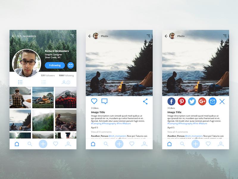 Daily UI – User Profile & Social Share social share user profile richmcmastersdesigns richardmcmasters uidesign debut 010 006 dailyui