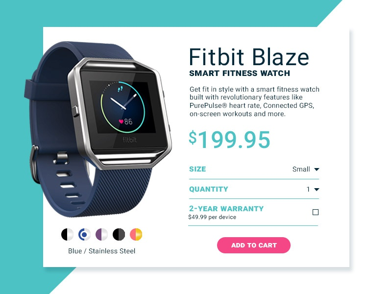 Daily UI 012 - Single Item Shop single item shop uidesign ui fitbit shop 011 dailyui