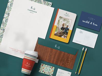 Treehouse Hotels Branding pattern design hand-lettering art direction graphic design identity design branding