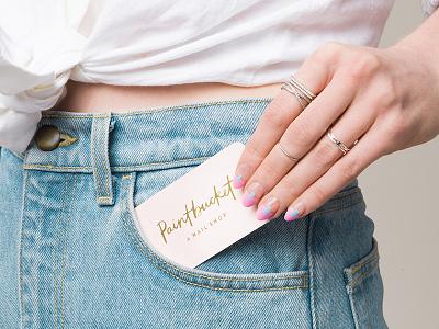 Paintbucket Business Card gold foil business card shop nail art graphic design logo identity design