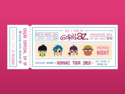 Gorillaz Concert Ticket specialgift specialticket humanztoursp2018 concertinsp concert ticket illustration gorillazillustrations gorillazconcertticket gorillaz