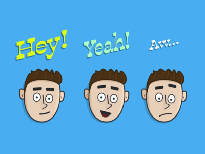 Character Study In Three Moods character faces cartoon illustration
