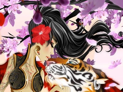 Cherry Kisses tiger cupid cherry blossoms flowers bees oriental asian arrows