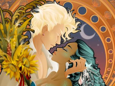 He Harvests The Moon god goddess harvest sunflowers sun moon man male woman kiss romance love