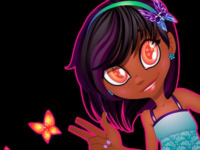Little Lylu happy bright girl fungirl kawaii butterflies vector