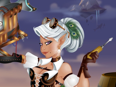 Capt. Cable V. Lightleg steampunk girl fantasy vector amputee invention inventor asherbee