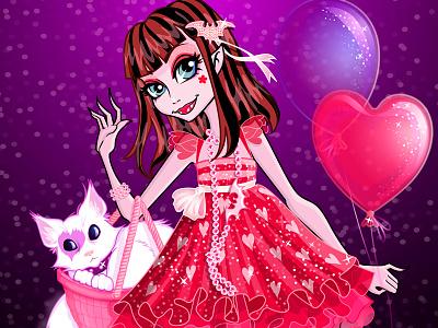 Scarlet monsterhigh monster vampire scarlett spooky cat balloons birthday dress glitter vector