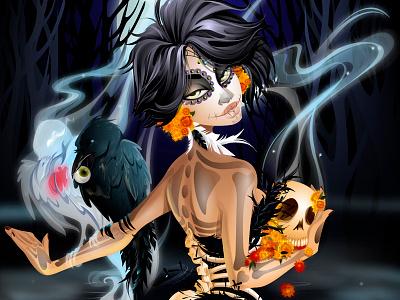 Day of the Dead diadelosmuerte day of the dead dead death crows birds skull skeleton night smoke swamp