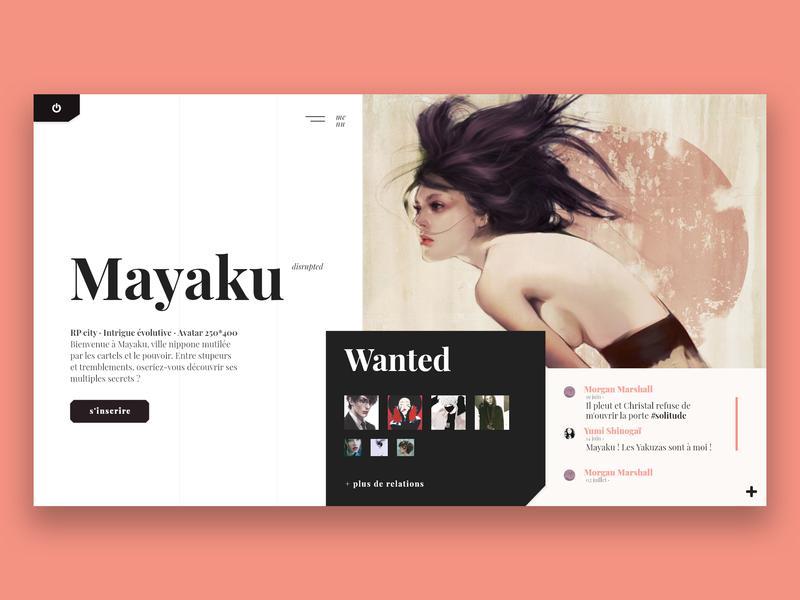 Mayaku · rp website · home page debut layout rpg home page uidesign typography playfair display