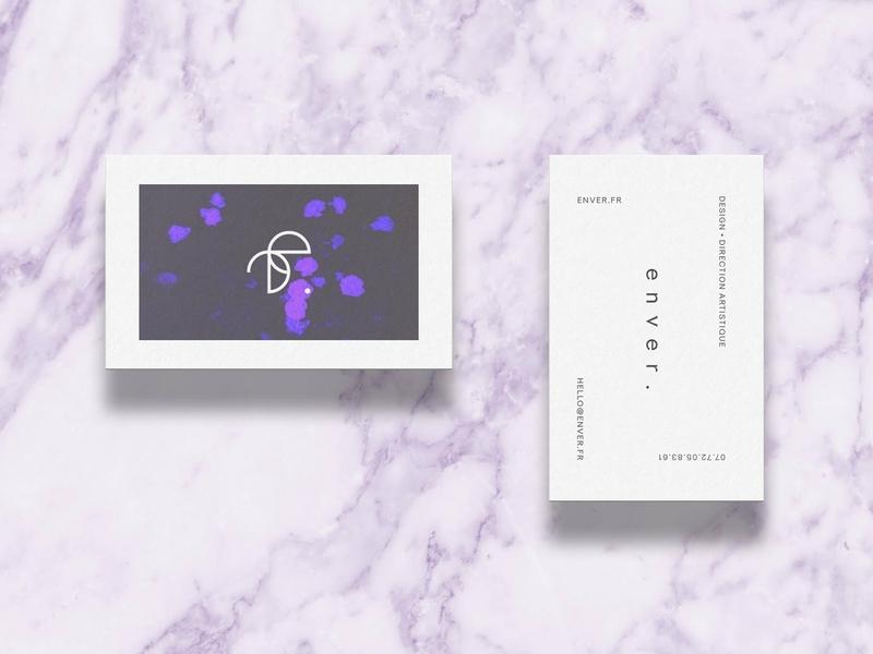 enver · visual identity · business cards branding print business card logo design grid minimal typography layout