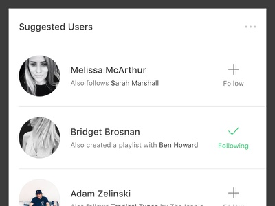 Suggested Users reccomended feed follow user music app suggested users users suggested