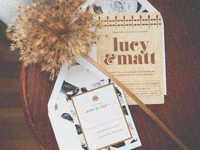 Wood Veneer Invitation Suite