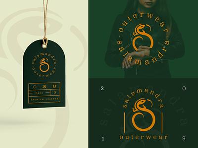 "Elements of ""Salamandra"" brand identity brand design premium identity model jacket badge clothing brand leather outerwear salamander logo wordmark label brand identity branding"