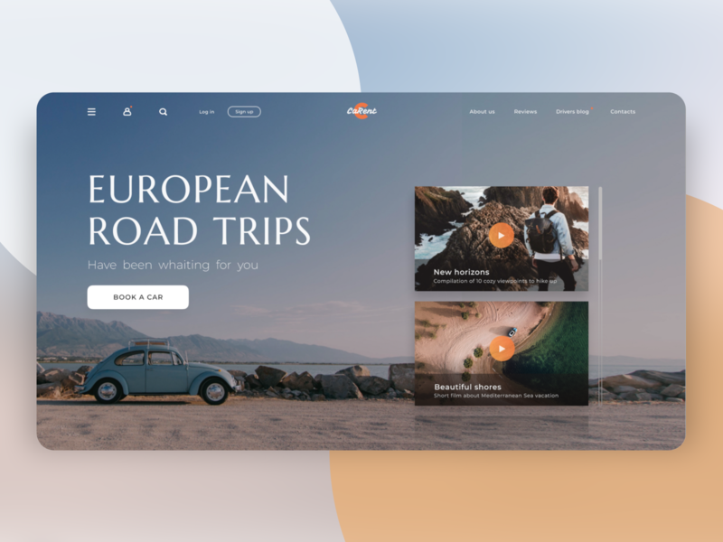 "Webpage design for ""CaRent"" app figma roadtrip european cards ui blog design landing web design bettle drivers blog road rent car europe ui design website concept webpage web ux ui"
