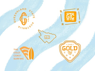 The Gold Coast surfing waves queensland coast gold surfing surf australia beach lettering illustration logotype badge logo design branding