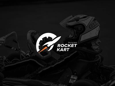 Rocket Kart racing team logo speed racer space rocketship kart gears gear speedometer formula1 racing team racing karting rocket logo rocket logotype badge logo brand identity logo design branding