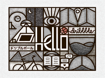 Dribbble time! shadows letters time texture shapes black white linework love reading eye outdoor clock hourglass first shot mountains lamp crescent workspace debut