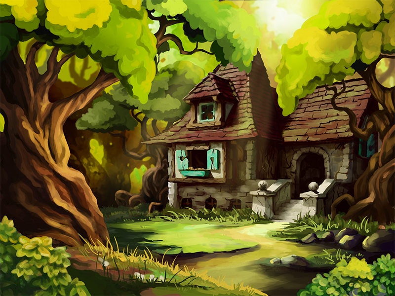 Fairy forest painting drawing fairy house cartoon illustration digital environment forest art game 2d
