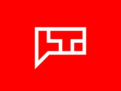 LT logo badge speak communication chat baloon talk lt t l