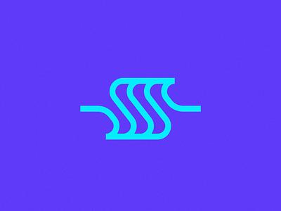 ss + waves badge brand geometric monogram ocean sea blue wave ss s