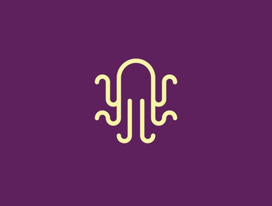 Octopus jj j geometric brand branding purple badge logo kraken squid octopus