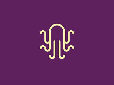 Octopus jj j geometric brand branding purple badge logo kraken squid octopus