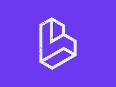 LV Logo purple geometric monogram symbol logo design branding