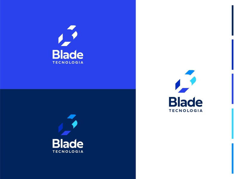 Blade Tecnologia b logo b letter blue negative space gestalt ti it tech logo blade