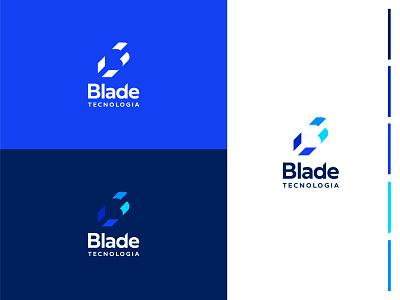 Blade Tecnologia b logo b letter blue negative space gestalt ti it tech logo blade