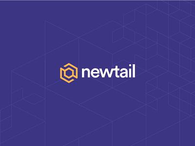 Newtail purple blue yellow cube box n letter retail
