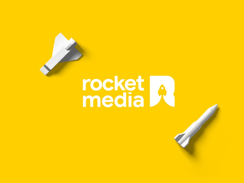 Rocket Media Logo space r logo r letter spaceship yellow rocket
