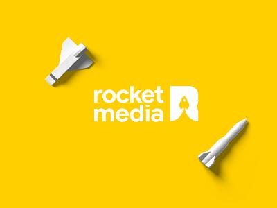 Rocket Media Logo space r logo r letter spaceship yellow rocket