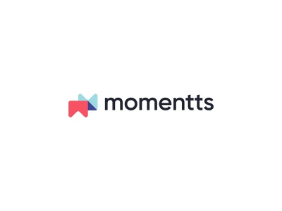 Momentts Logo blue red pastel colors studio m letter m logo photography page marker moments