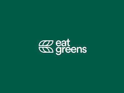 Eat Greens Logo vegetarian vegetal healthy monogram eg g logo e logo vegetables green leaves leaf
