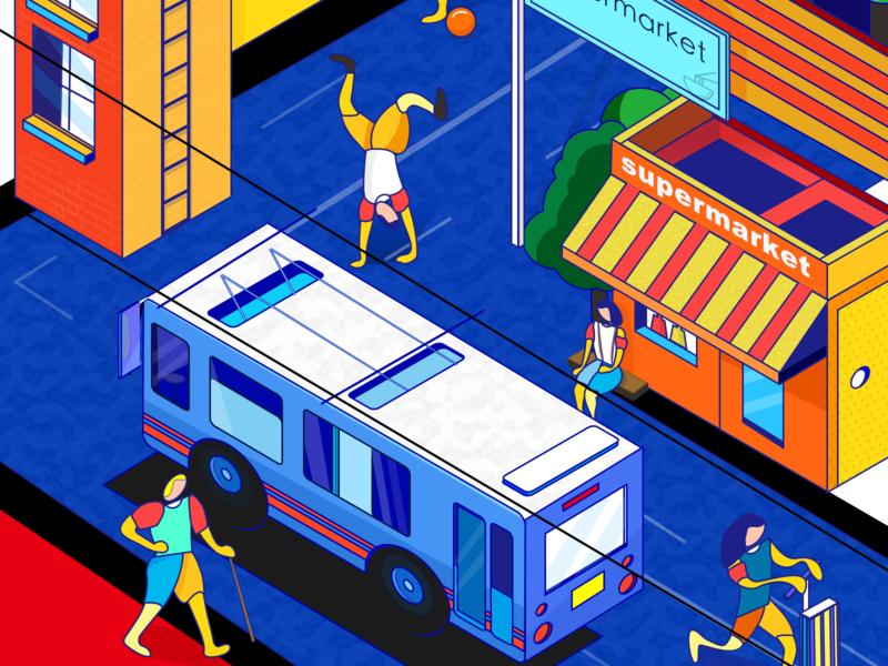 Practice 3 street roadtrip store travel work bus bus stop
