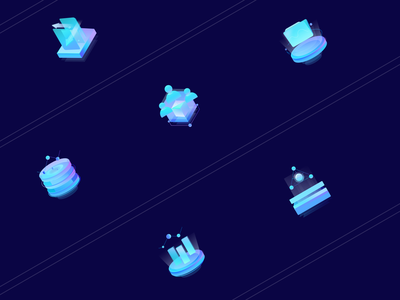 Practice 7 colorful bigdata illustration icon financial 2.5d