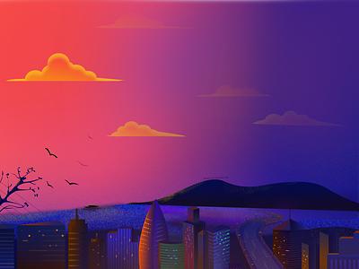 Sunset warm colors mountain sea city night view the setting sun