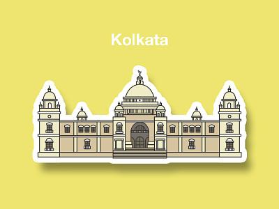 Victoria Memorial Kolkata india monuments victoria flatdesign illustrator heritage artofvisuals lineillustration illustration cityofjoy victoriamemorial kolkata
