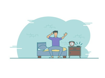 Guy waking up in  the morning illustration