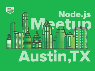 Austin Node.js Meetup community logo illustration