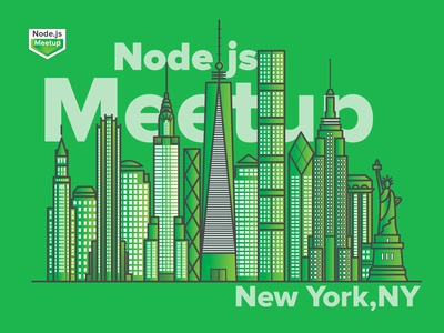 NYC Node Meetup Community Logo Illustration | Newyork Skyline