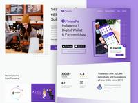 PhonePe Landing Page redesign | Landing page design