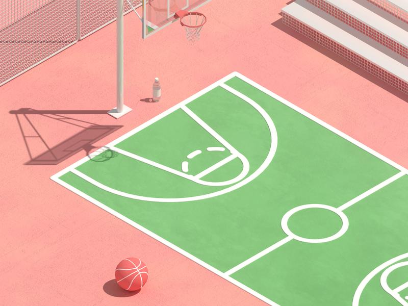 basketball summer art c4d octane 3d basketball
