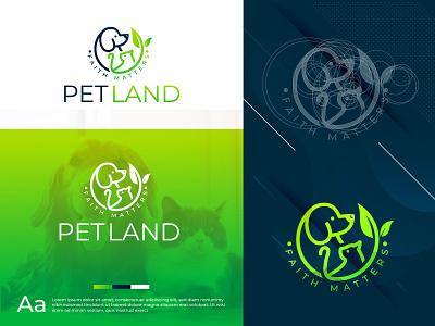 Pet Land | Pet Logo Design pet logo cat logo dog logo petland logo logo design design flat creative icon creative clean branding logo cat dog petland pet