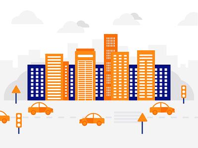 City Illustration apartments town vector simple landscape flat street illustration home city building