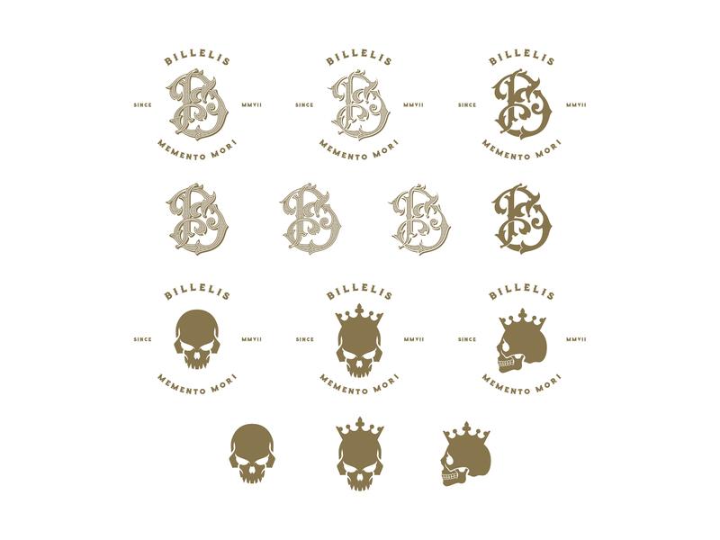 Billelis Monogram & Skull Logos skull skull emblems elements hand lettering ornaments decorations typography unique traditional unique handcrafted illustration handcrafted typeface traditional illustration illustration vintage tuyetduyet tuyetduyetstudio billelis b monogram logo billelis logos