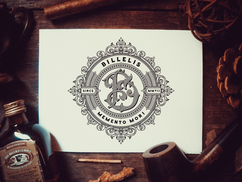 Billelis Logo logodesigns hand lettering ornaments decorations typography unique traditional unique handcrafted illustration handcrafted typeface traditional illustration illustration vintage tuyetduyet tuyetduyetstudio billelis letter b b monogram logo billelis brand identity billelis logos