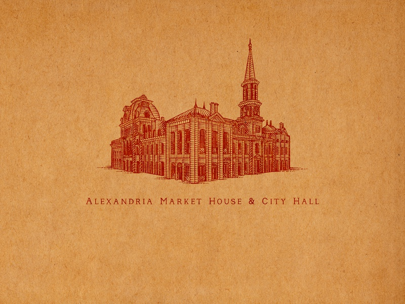 Alexandria Market House & City Hall map of old town alexandria virginia old town alexandria sporthealth old town elements flourishes hand lettering ornaments decorations typography unique traditional unique handcrafted illustration handcrafted traditional illustration illustration vintage tuyetduyet tuyetduyetstudio