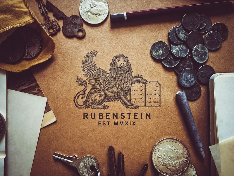 Rubenstein Lion Logo lion illustration maison co branding typography logo rubenstein capital rubenstein tuyetduyetstudio tuyetduyet vintage illustration traditional illustration handcrafted unique handcrafted illustration traditional unique typography decorations ornaments hand lettering elements
